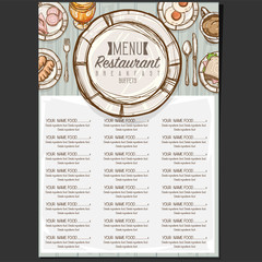 menu food restaurant template design hand drawing graphic