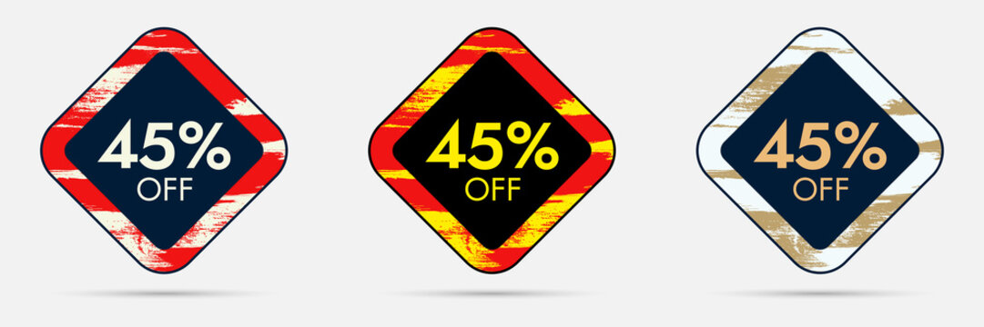 45% Off Discount Sticker. 45% Off Sale and Discount Price Banner