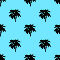 Palm tree pattern seamless texture isolated on blue background. Simple illustration of palm tree for any web design or textile. EPS10