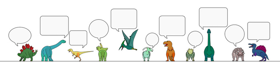 colorful dinosaur with speech bubbles border