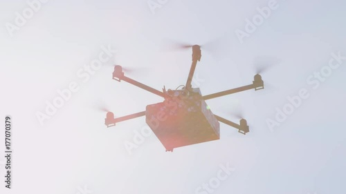 Last Minute Gift Delivery By Cargo Multicopter Shipping Drone Bringing Birthday Present To Your Home Futuristic Flying Christmas Over Sun