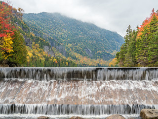 The dam of Lower Ausable Lake in Adirondacks