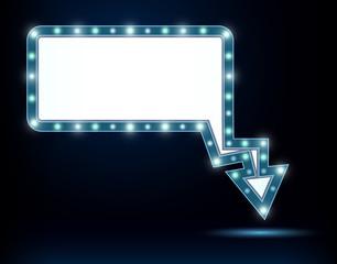 Shining retro light sign board.  Vintage bright billboard with arrow. Vector illustration