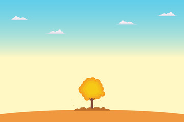 Happy Autumn Season Background with gradient of orange brown and yellow shade.  Vector Illustration.
