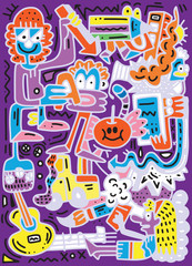 Welcome Back to School poster with doodles,Good for textile fabr
