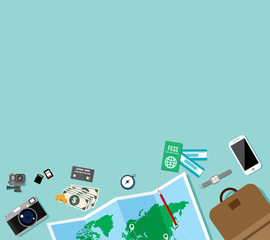 Travel preparation with copy space, trip vacation, tourism element, touristic map, Camera, Dollar banknotes and coins, Journey planning, Flat vector design concept cartoon illustration.
