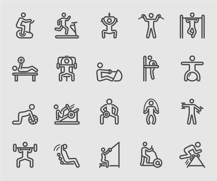 Exercise with equipment line icon
