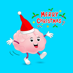 Cute cartoon brain character with Santa hat. Merry Christmas and Happy New Year concept, illustration isolated on blue background.