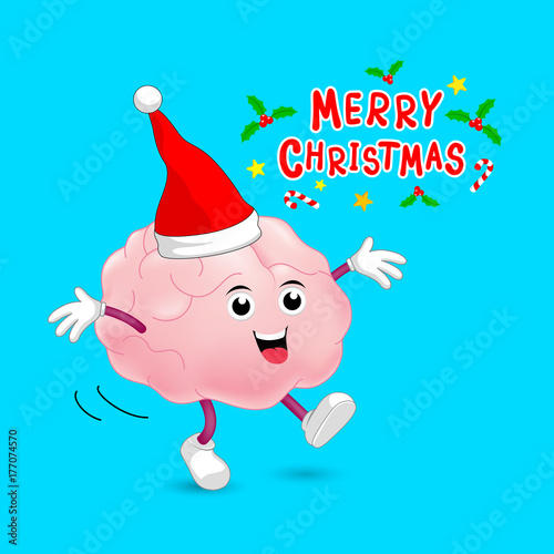cute cartoon brain character with santa hat merry christmas and happy new year concept