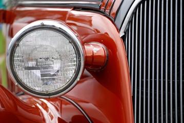 car, automobile, headlight, classic, auto, red, vintage, vehicle, light, chrome, retro, antique, bumper, headlamp, detail