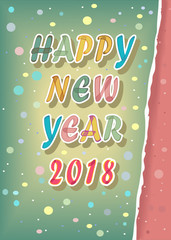 Happy New Year 2018. Watercolor card