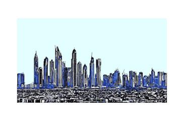 Vector illustration of  Buildings in Dubai UAE.