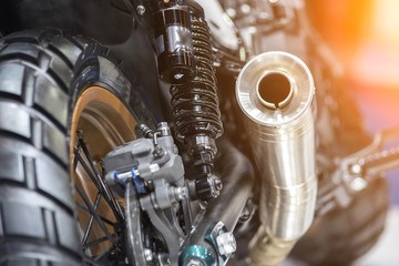 Close up shot of a motorcycle exhaust pipes. Wall mural