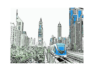 Vector illustration of  Metro in Dubai UAE.