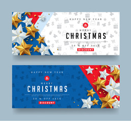 Christmas and New Year voucher discount with silver and golden star.Vector illustration template.greeting cards.
