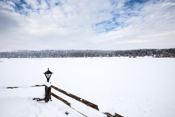 Winter landscape view with pine forest at a cloudy dull day.Fence and a small lamp on the foreground.