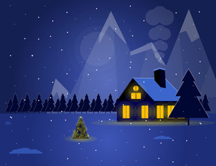 Illustration of winter landscape at night with house and christmas tree. Snowy night under the mountains