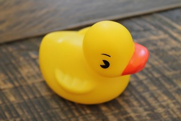 Rubber Ducky Bathtub Toy on a Wooden Background Isolated