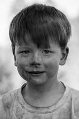 Boy with dirty face