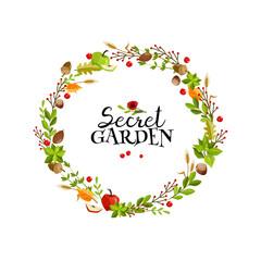 Garden wreath illustration