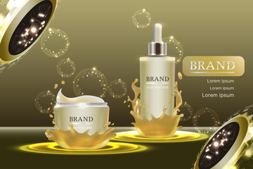 Cosmetic containers with advertising background ready to use, luxury skin care ad. Illustration vector