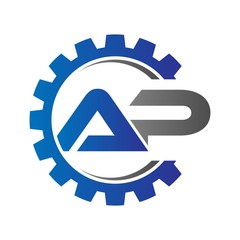 ap initial logo vector with gear blue gray