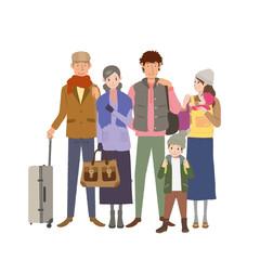 旅行する家族 イラスト