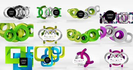 Set of objects backgrounds digital geometric
