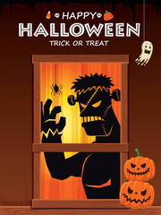 Vintage Halloween poster design with vector monster character.