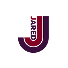 J letter logo, Jared name