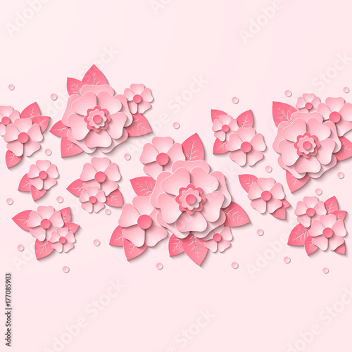 Floral background with 3d pink flowers cut out paper  Vector