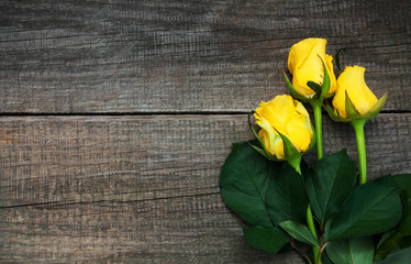Yellow roses on a table