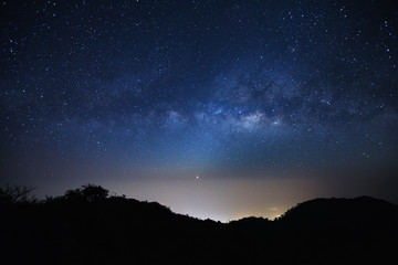 Landscape milky way galaxy with stars and space dust in the universe, Long exposure photograph,
