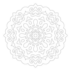 Black and white silhouette of snowflakes. Lace, round ornament and decorative border.