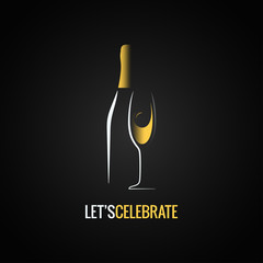 Champagne glass. Bottle design background