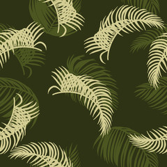 Wall Murals Botanical Areca palm sketch by hand drawing.Plam leaf vector pattern on brown background.Vector leaves art highly detailed in line art style.Tropical seamless for wallpaper.