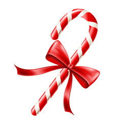 Christmas red and white candy cane with red bow, isolated on white. Realistic vector illustration isolated on white, for Christmas and December holiday season