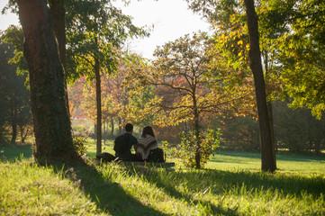 couple assis sur un banc dans un parc urbain en automne