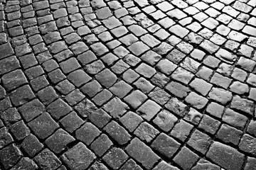 texture of stone pavement tiles cobblestones bricks background Wall mural