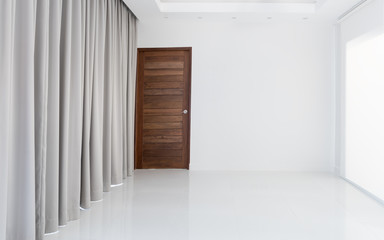 White modern empty living room interior decoration with white and beige curtain background