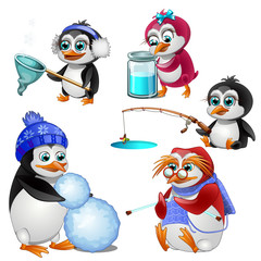 Penguin family, parents. children and grandmother - every one busy with his business. Cartoon animals character for animation, childrens illustrations, book and other design needs. Vector isolated