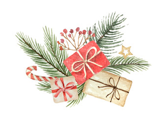 Watercolor vector Christmas bouquet with fgifts and fir branches.