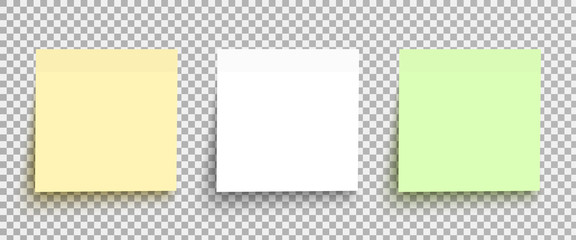 Yellow, white and green sticky notes isolated on a transparent background. Vector element template set ready for your design, eps10