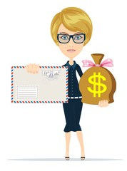 envelope and money bag. Stock flat vector illustration.