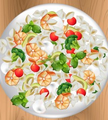 Italian seafood pasta plate Realistic vector illustration for menu, print, label, flyers