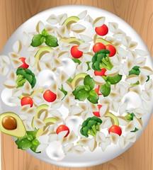 Italian veggie pasta plate Realistic vector illustration for menu, print, label, flyers