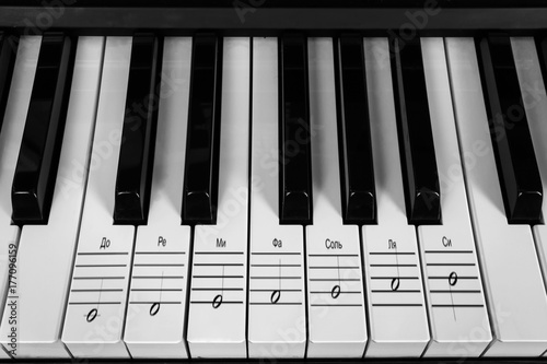 Musical instrument of the piano and keys with notes on the musical
