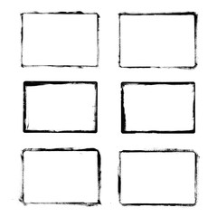 Frames Drawn Ink Brush / Set of black grunge frames isolated on white background