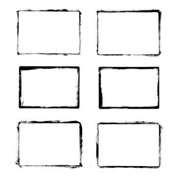 Frames Drawn Ink Brush / Set of black grunge frames isolated on white background