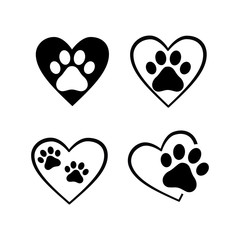 dog cat paw prints in heart shape, sticker